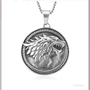Wolf Pendant Necklace 24 Inch in Black Oxidized